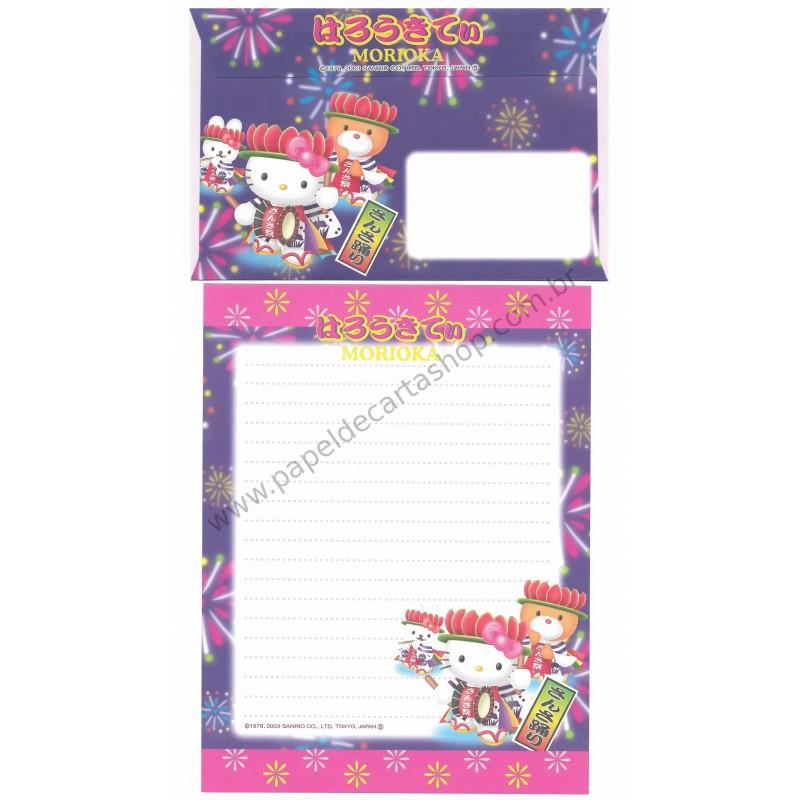 Ano 2003. Conjunto de Papel de Carta Gotōchi Kitty Morioka Sanrio