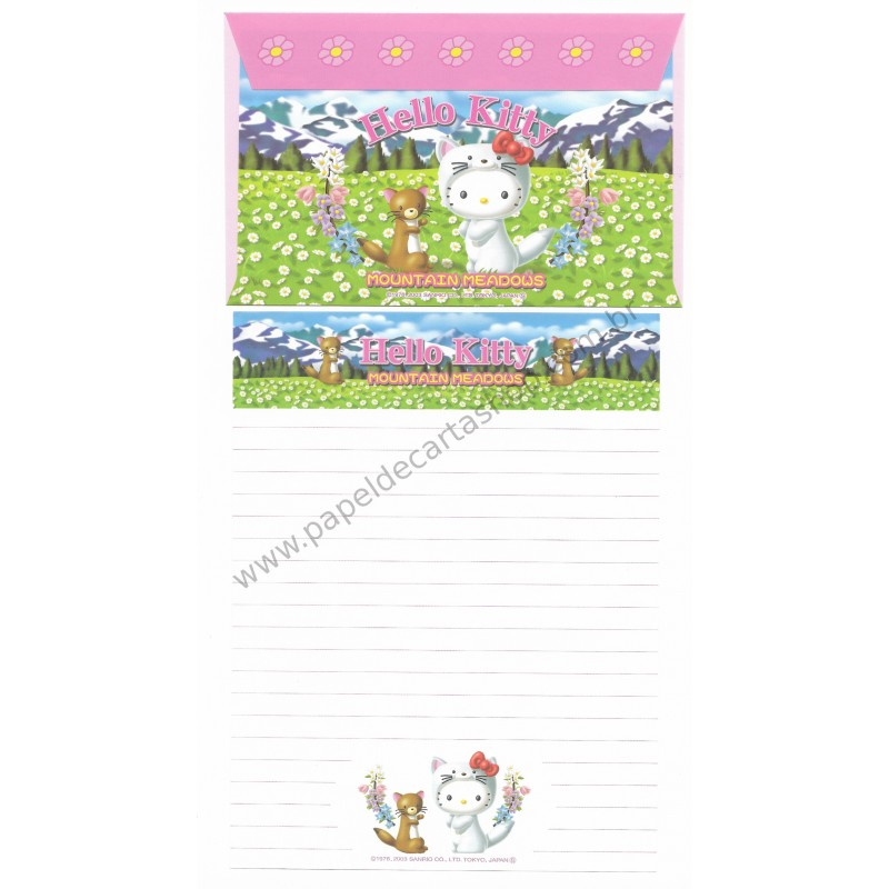 Ano 2003. Conjunto de Papel de Carta GOTŌCHI Kitty Mountain Meadows 2 Sanrio