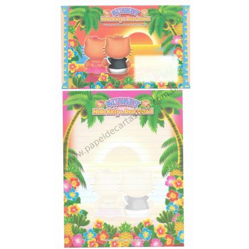 Ano 2003. Conjunto de Papel de Carta Gotōchi Kitty Sunset Sanrio