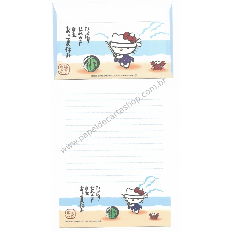 Ano 2003. Conjunto de Papel de Carta Gotōchi Kitty Regional Japão 03 Sanrio