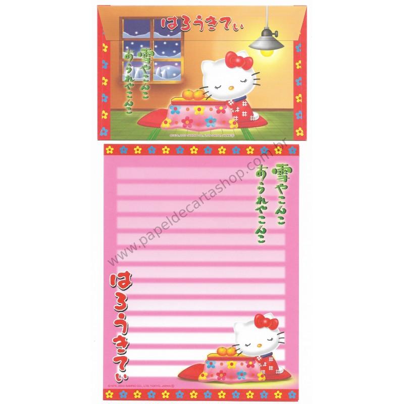 Ano 2003. Conjunto de Papel de Carta Gotōchi Kitty Regional Japão 06 Sanrio