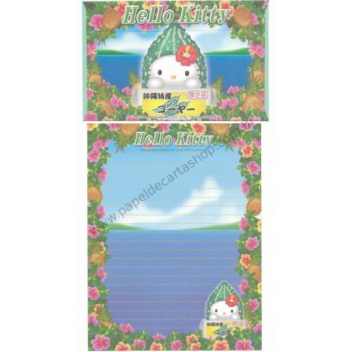 Ano 2003. Conjunto de Papel de Carta Gotōchi Kitty Regional Japão 07 Sanrio