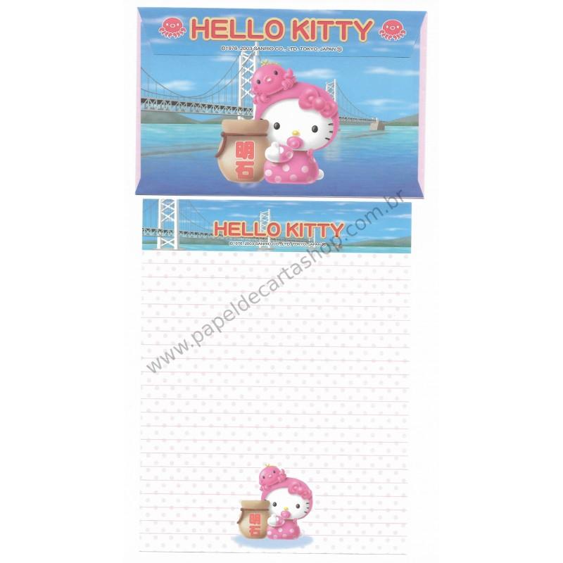Ano 2003. Conjunto de Papel de Carta Gotōchi Kitty Regional Japão 08 Sanrio