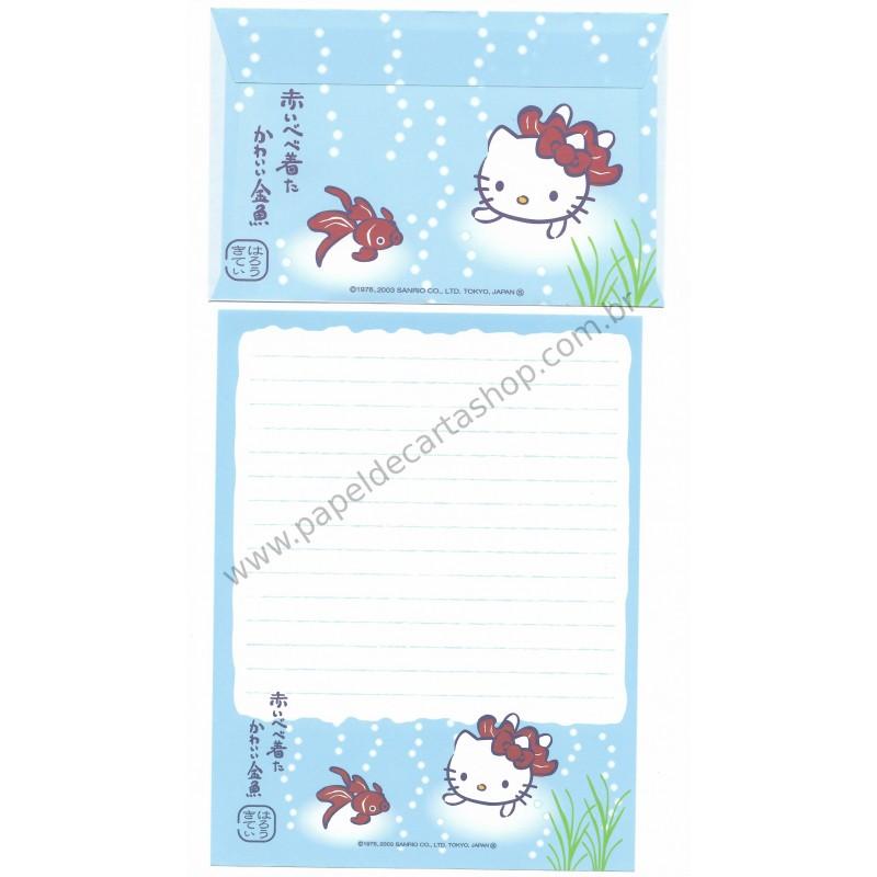 Ano 2003. Conjunto de Papel de Carta Gotōchi Kitty Regional Japão 10 Sanrio