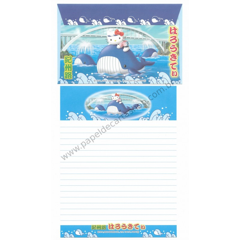 Ano 2003. Conjunto de Papel de Carta Gotōchi Kitty Regional Japão 11 Sanrio