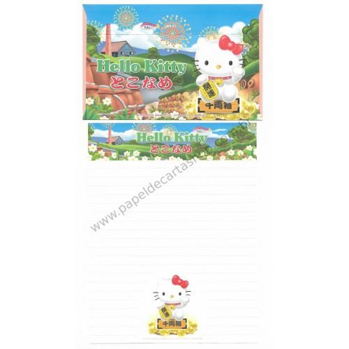 Ano 2003. Conjunto de Papel de Carta Gotōchi Kitty Regional Japão 12 Sanrio