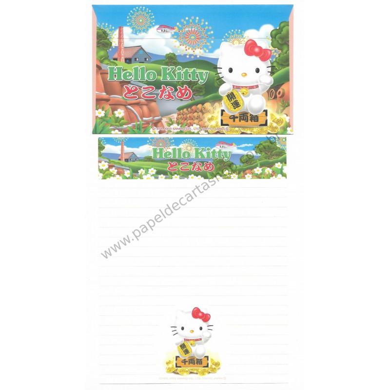 Ano 2003. Conjunto de Papel de Carta Gotōchi Kitty Regional Japão 12 - Sanrio