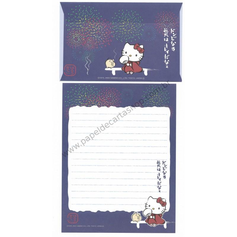 Ano 2003. Conjunto de Papel de Carta Gotōchi Kitty Regional Japão 22 Sanrio