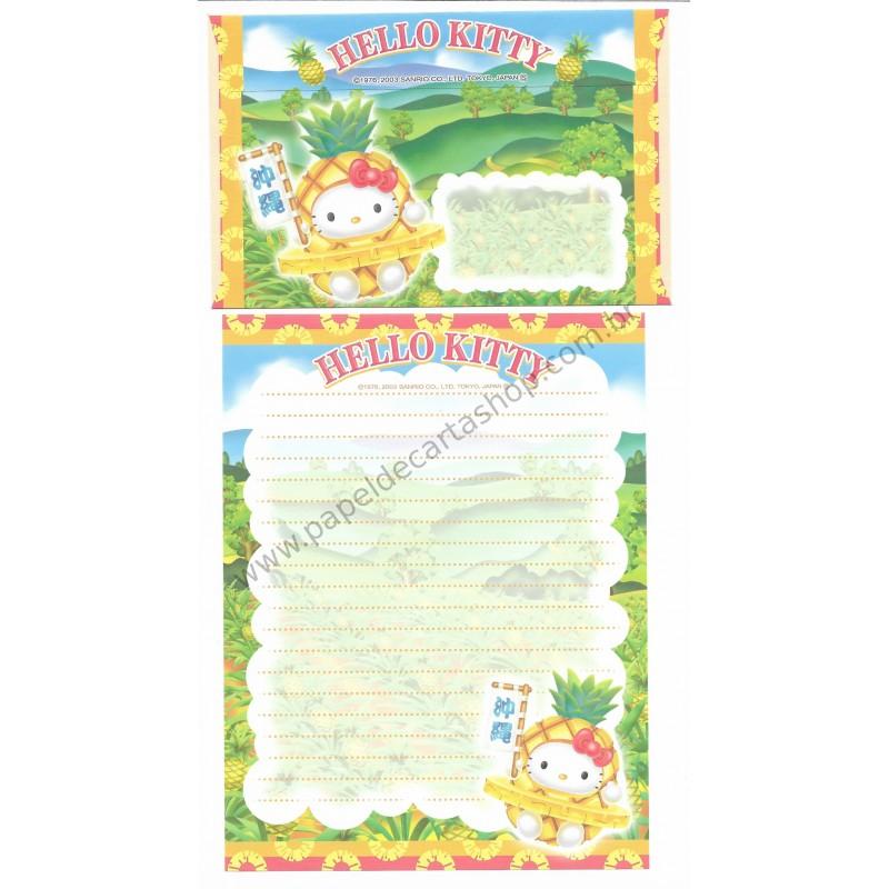 Ano 2003. Conjunto de Papel de Carta Gotōchi Kitty Regional Japão 23 Sanrio