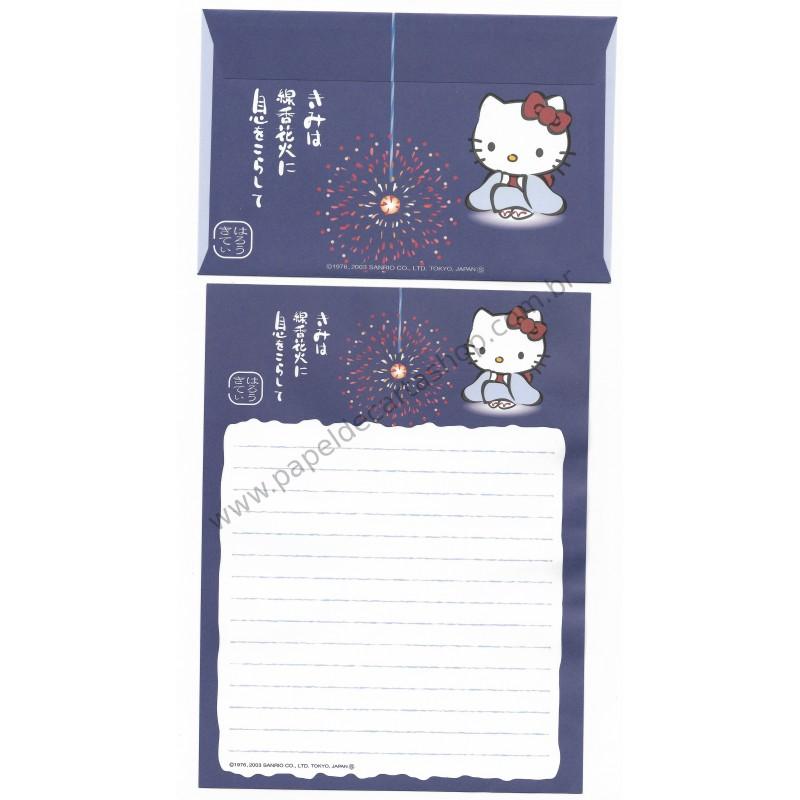 Ano 2003. Conjunto de Papel de Carta Gotōchi Kitty Regional Japão 26 Sanrio