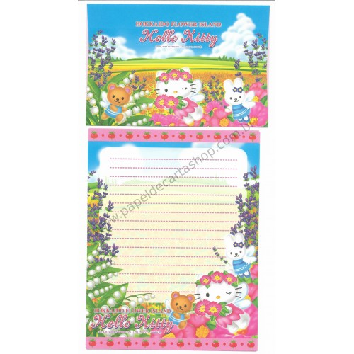 Ano 2003. Conjunto de Papel de Carta Gotōchi Kitty Hokkaido Flower Island Sanrio