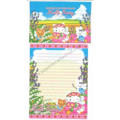 Ano 2003. Conjunto de Papel de Carta Gotōchi Kitty Regional Japão Hokkaido Flower Island - Sanrio