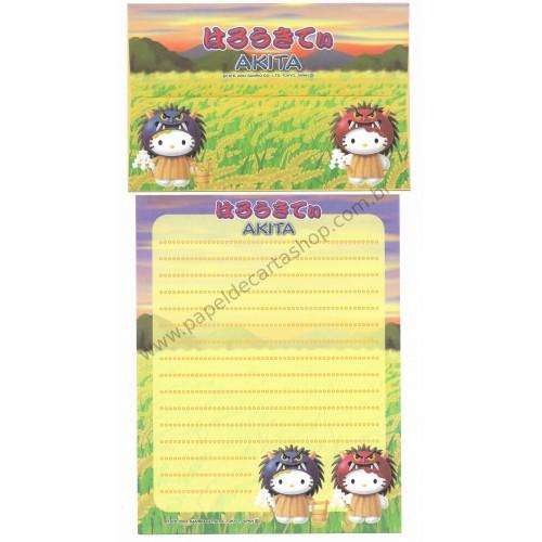 Ano 2004. Conjunto de Papel de Carta Gotōchi Kitty Regional Japão - Akita - Sanrio