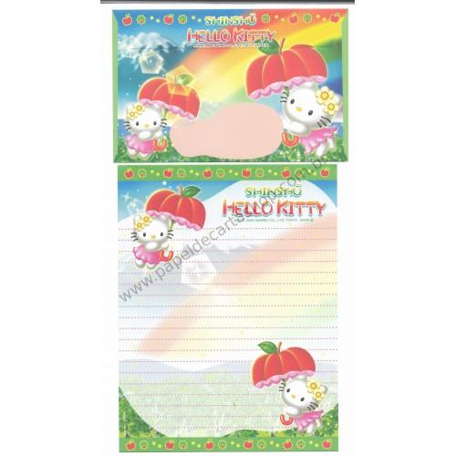 Ano 2004. Conjunto de Papel de Carta Gotōchi Kitty Regional Japão - Shinshu - Sanrio