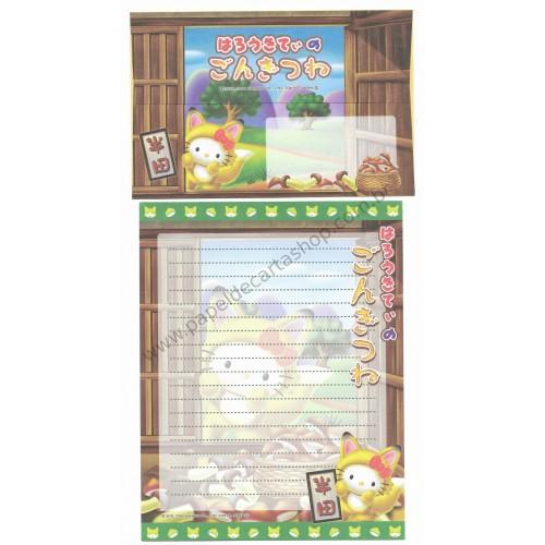 Ano 2004. Conjunto de Papel de Carta Gotōchi Kitty Regional 01 Sanrio