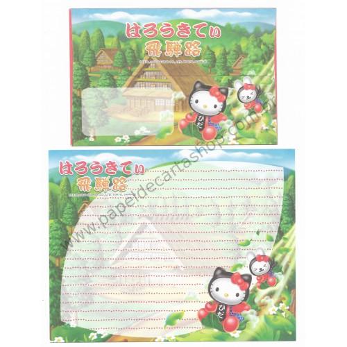Ano 2004. Conjunto de Papel de Carta Gotōchi Kitty Regional 04 Sanrio
