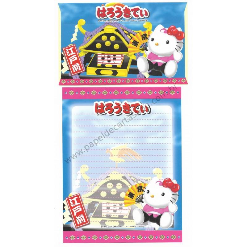 Ano 2004. Conjunto de Papel de Carta Gotōchi Kitty Regional 27 Sanrio