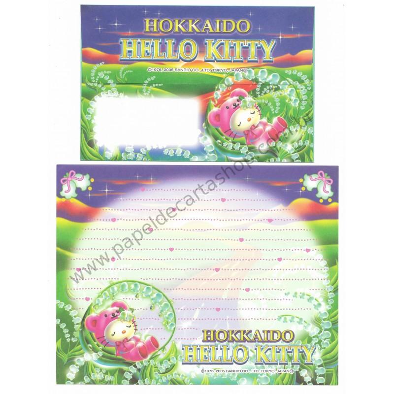 Ano 2005. Conjunto de Papel de Carta Gotōchi Kitty Hokkaido 05 Sanrio