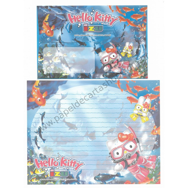 Ano 2005. Conjunto de Papel de Carta Gotōchi Kitty Regional Japão - Izu - Sanrio