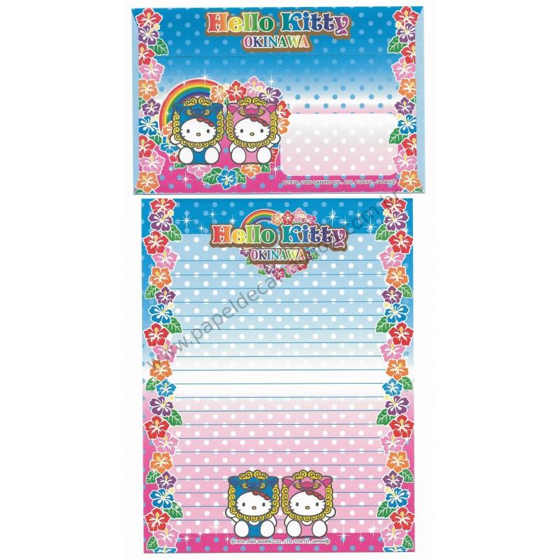 Ano 2005. Conjunto de Papel de Carta Gotōchi Kitty Okinawa 2 Sanrio