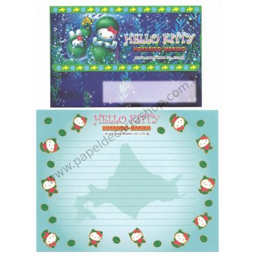 Ano 2008. Conjunto de Papel de Carta Gotōchi Kitty Regional Japão - Hokkaido Marimo - Sanrio