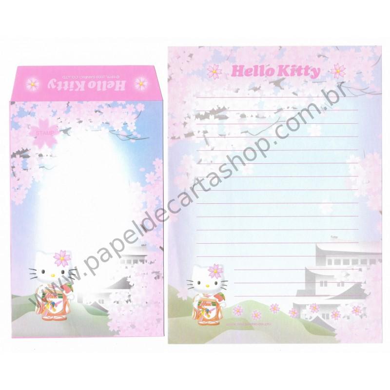Ano 2000. Conjunto de Papel de Carta Gotochi Kitty Regional Sanrio