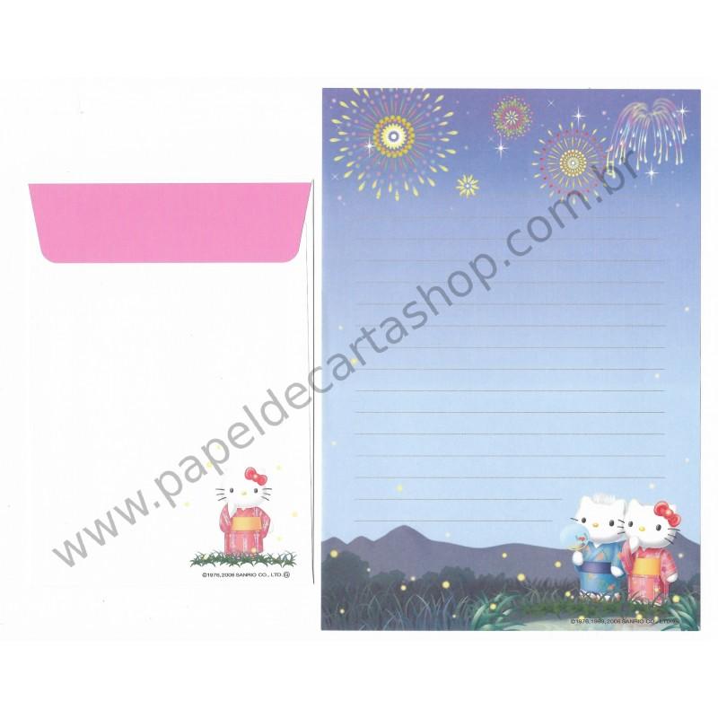 Ano 2006. Conjunto de Papel de Carta Gotochi Kitty Regional Sanrio