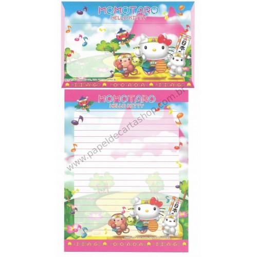 Ano 2004. Conjunto de Papel de Carta Gotochi Kitty Regional Momotaro Sanrio