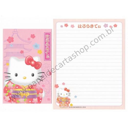 Ano 1999. Conjunto de Papel de Carta Hello Kitty Regional Japão Sanrio