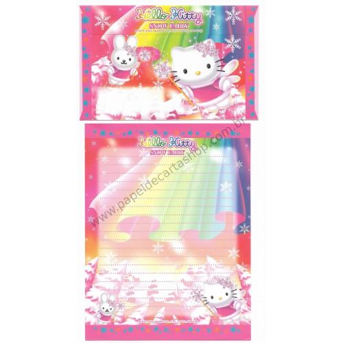 Ano 2003. Conjunto de Papel de Carta Hello Kitty Snow Fairy Sanrio