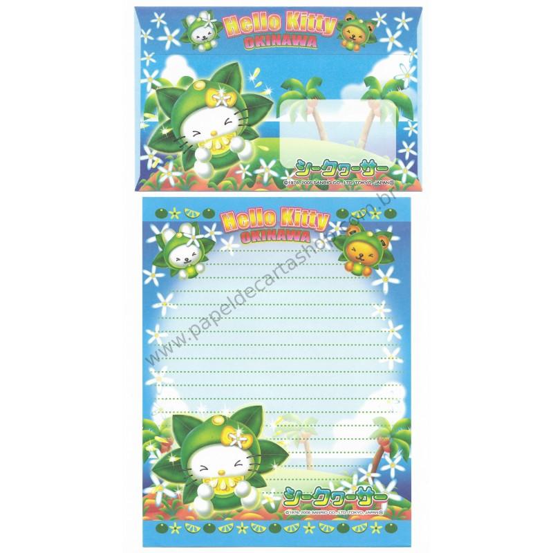 Ano 2005. Conjunto de Papel de Carta Gotōchi Kitty Okinawa 3 Sanrio
