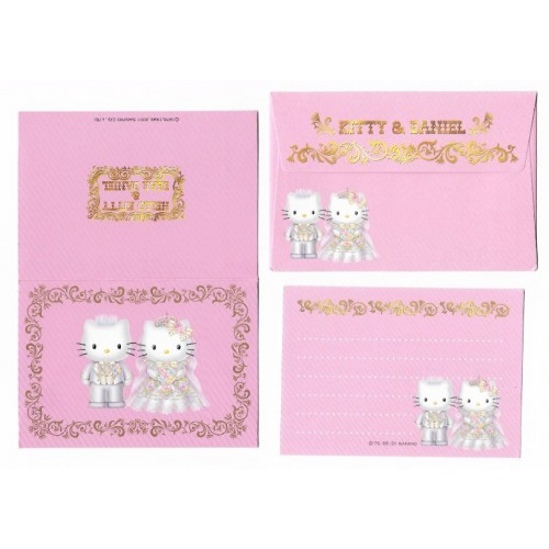 Ano 2001. Conjunto de Papel de Carta Hello Kitty & Dear Daniel Wedding Invitation MINI