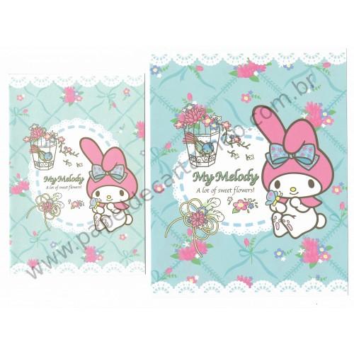 Ano 2013. Conjunto de Papel de Carta My Melody Sweet Flowers Sanrio