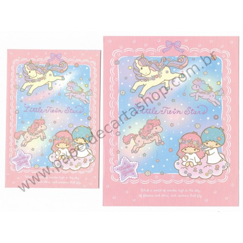 Ano 2014. Conjunto de Papel de Carta Little Twin Stars Twinkle Twinkle Sanrio
