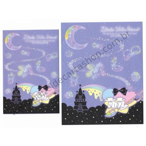 Ano 2014. Conjunto de Papel de Carta Little Twin Stars Sparkling Night Sky Sanrio