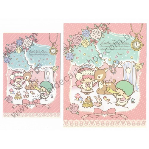 Ano 2015. Conjunto de Papel de Carta Little Twin Stars A Little Forest Star Sanrio