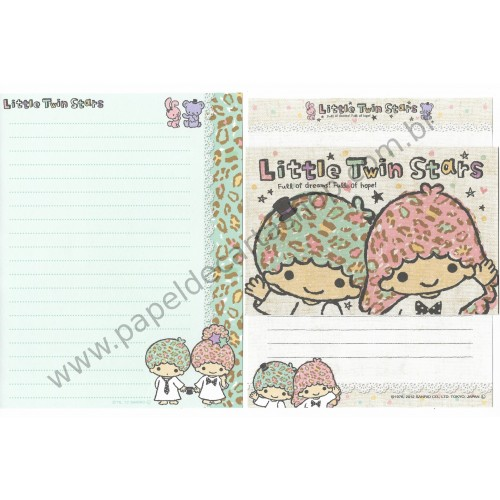 Ano 2012. Kit 2 Conjuntos de Papel de Carta Little Twin Stars Dreams and Hope Sanrio