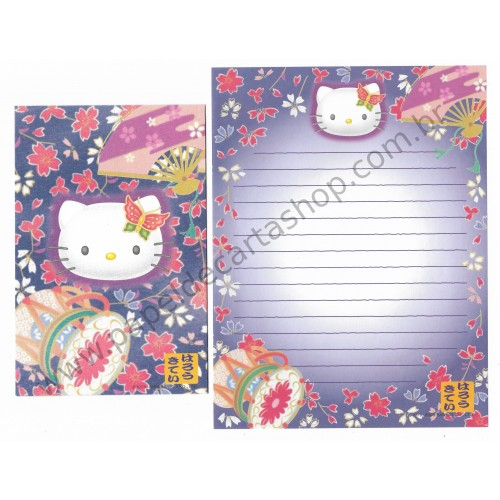 Ano 2000. Conjunto de Papel de Carta Hello Kitty Regional AZ Sanrio