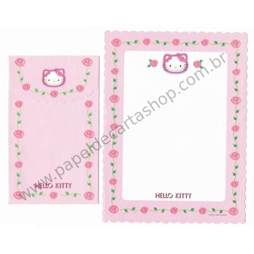 Ano 2000. Conjunto de Papel de Carta Hello Kitty Roses Sanrio