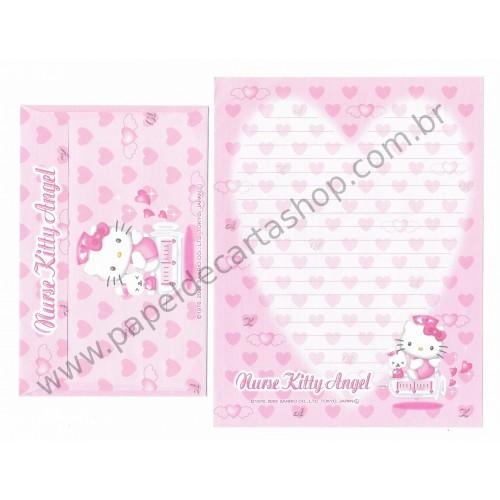 Ano 2002. Conjunto de Papel de Carta Nurse Kitty Angel Sanrio