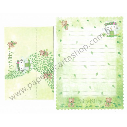 Ano 2000. Conjunto de Papel de Carta Hello Kitty Fairy Kitty CVD Antigo (Vintage) Sanrio