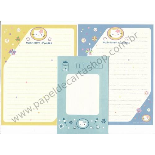 Ano 1999. Conjunto de Papel de Carta Hello Kitty C* works Antigo (Vintage) Sanrio