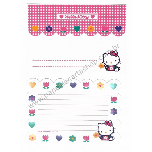 Ano 1995. Conjunto de Papel de Carta Hello Kitty P (Vintage) Sanrio