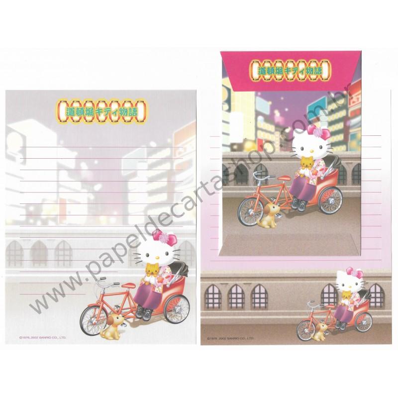 Ano 2002. Conjunto de Papel de Carta Hello Kitty Regional 41 Sanrio