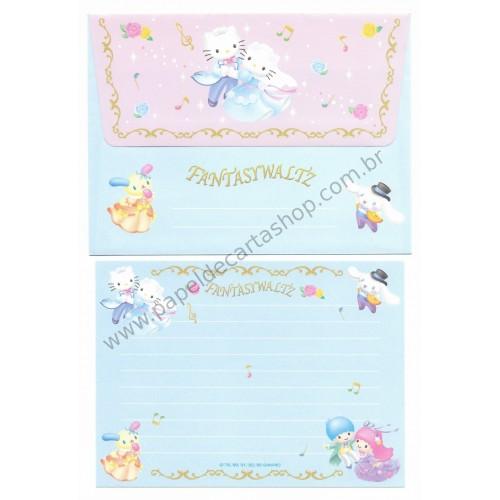Ano 2005. Conjunto de Papel de Carta Hello Kitty Sanrio Fantasywaltz
