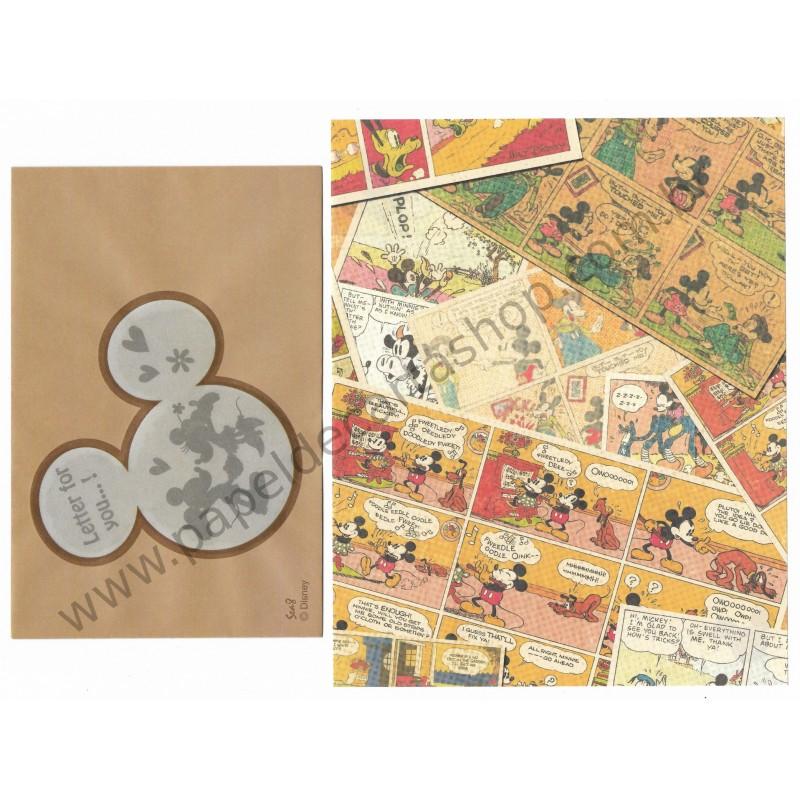 Conjunto de Papel de Carta Importado Disney Mickey Mouse Sea8 (Kraft)