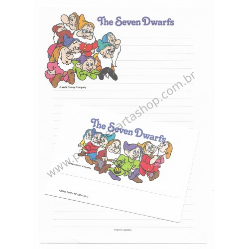 Conjunto de Papel de Carta VINTAGE DISNEY - The Seven Dwarfs