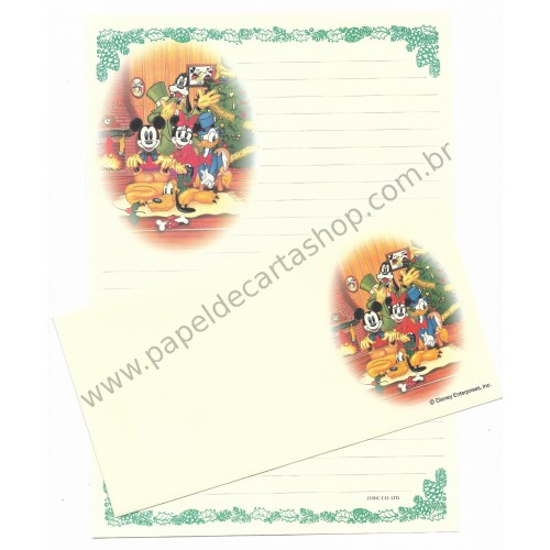 Conjunto de Papel de Carta Antigo VINTAGE Importado Disney Merry Christmas