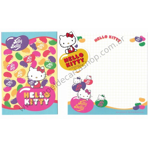 Ano 2009. Conjunto de Papel de Carta Hello Kitty Jelly Belly (AZ) Sanrio