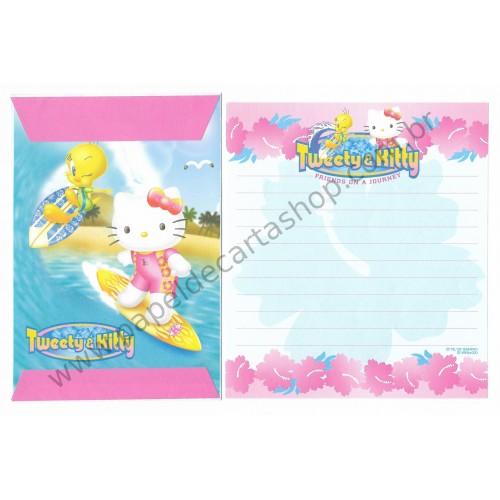 Ano 2002. Conjunto de Papel de Carta Hello Kitty & Tweety PSurf Sanrio